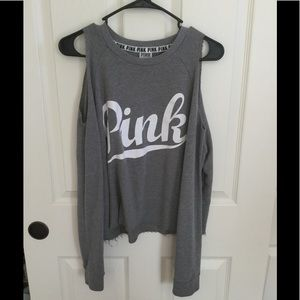 Pink/VS top with cut off shoulders